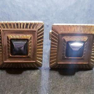 Other - Vintage Goldtone Square Hematite Cufflinks